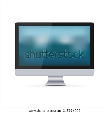 Computer screen illustration isolated on white - stock photo