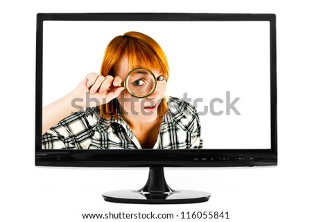 computer screen isolated on white - stock photo