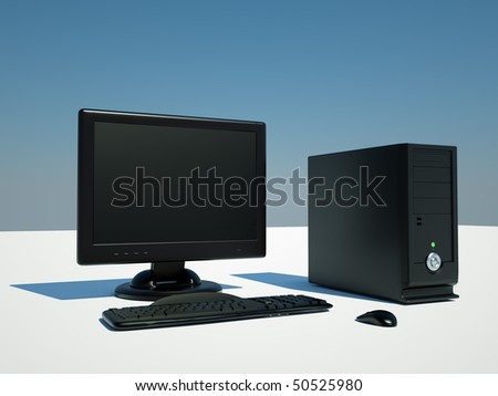 computer, screen, keyboard, and mouse on white background