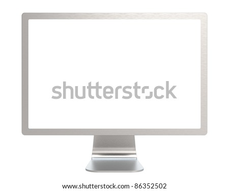 Computer Screen of Brushed Steel. Isolated. - stock photo