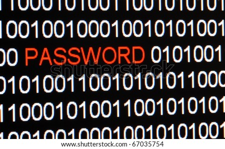 Computer screen with binary code and isolated red password. - stock photo