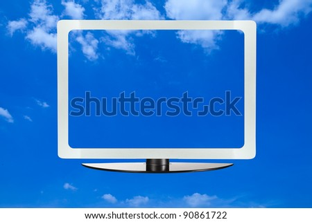 Computer screen with blue sky