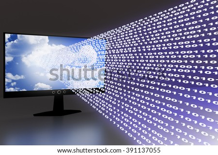 Computer screen with flowing numbers