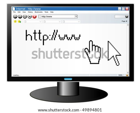 Computer screen with Internet browser with pointers  (jpg)