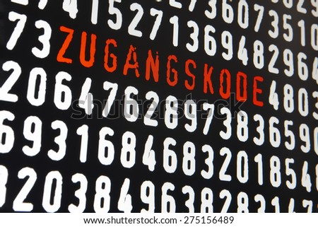 Computer screen with zugangskode text and numbers on black background. Horizontal