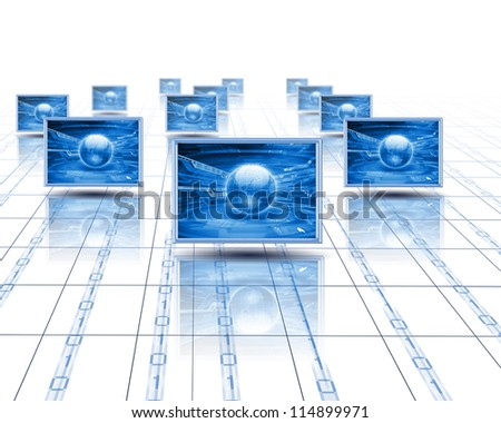 Computer screens with an image of the world on them> - stock photo