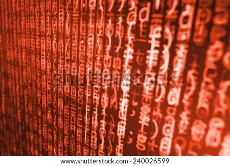 Computer script. Programming code abstract screen of software developer. Digital abstract bits data stream, cyber pattern digital background.  Selective focus effect. Red orange color. - stock photo