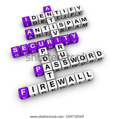 computer security  (blue-white cubes crossword series) - stock photo