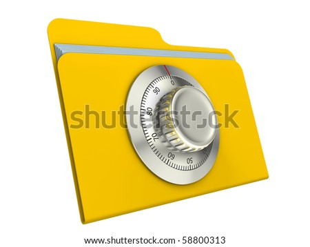 Computer security concept. Computer folder with combination lock. - stock photo