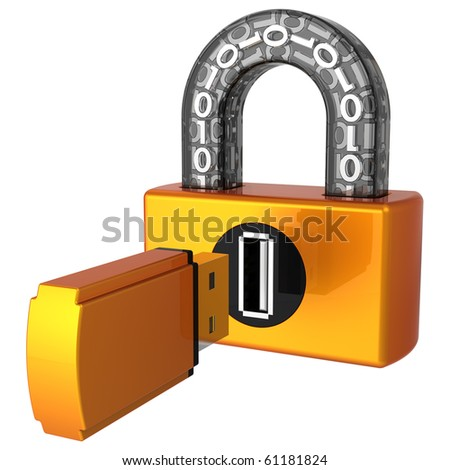 Computer security concept. Digital USB lock and flash drive as key near keyhole. 3D render (Hi-Res). Isolated on white - stock photo