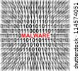 Computer Security Concept Present by Binary Code Around The Red Malware Text - stock photo