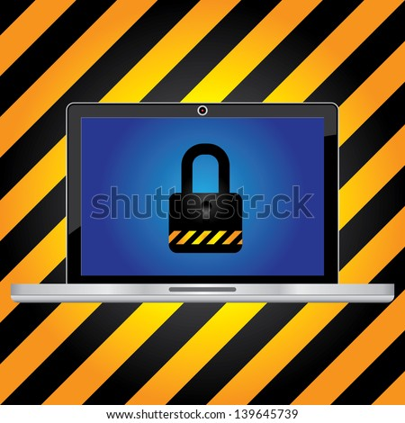 Computer Security Concept Present By Computer Laptop or Computer Notebook With The Key Lock on Screen in Caution Zone Dark and Yellow Background - stock photo