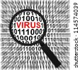 Computer Security Concept Present by Magnifying Glass Focus On The Red Virus Text in Binary Code Background - stock vector