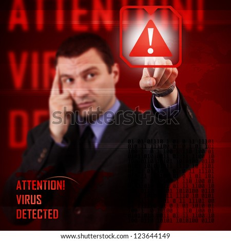 Computer security concept, virus detected - stock photo