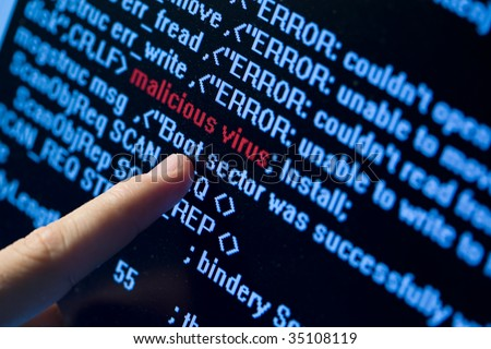 Computer security concept. Virus in program code - stock photo