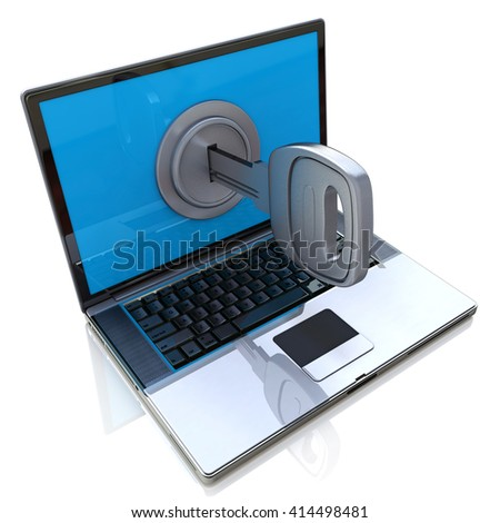 Computer security 3d concept - laptop and key in the design of information related to internet technologies - stock photo