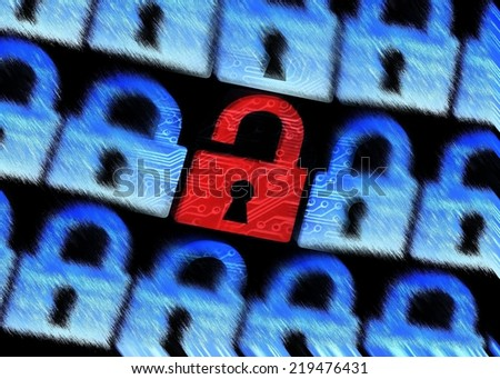 computer security - Hacked symbol of open red padlock surrounded by blur blue padlocks - stock photo