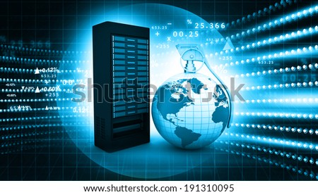 Computer server connecting with dynamic world	 - stock photo