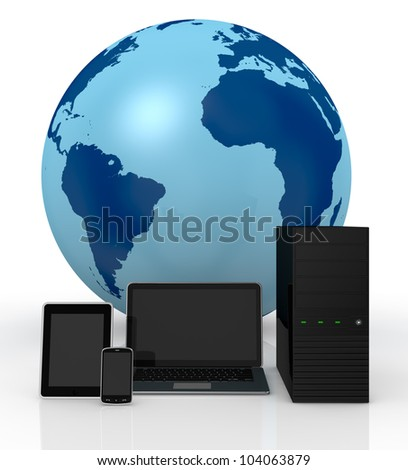 computer server notebook tablet pc and smartphone with a world globe on background (3d render) - stock photo