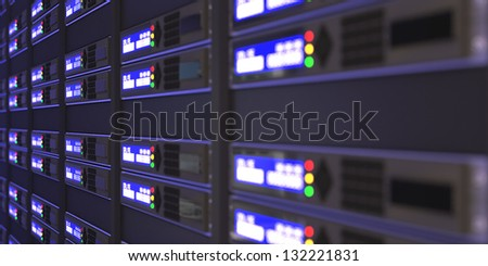 Computer servers 3d rendering - stock photo