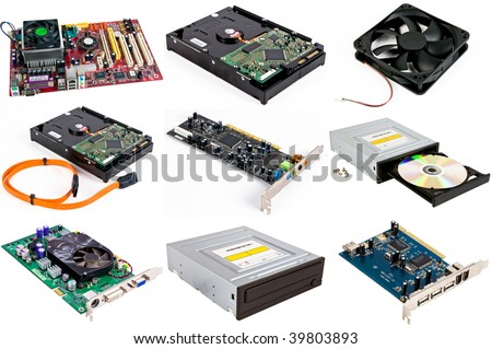 Computer set of details isolated on a white background - stock photo