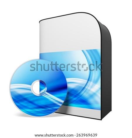 Computer Software. 3D. Blank Software Box - stock photo