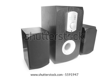 computer speakers isolated on white - stock photo