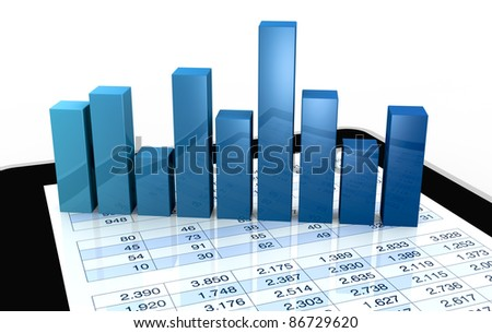 computer, spreadsheet and charts to show the concept of modern tools for financial and market analysis (3d render) - stock photo