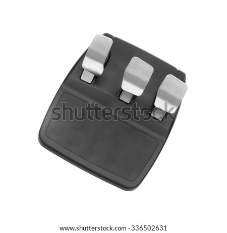 Computer steering pedals isolated - stock photo