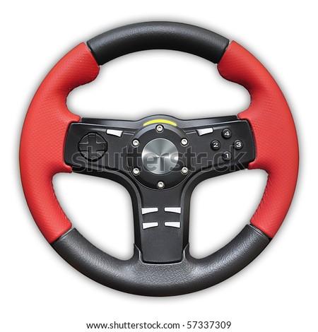 Computer steering wheel - stock photo