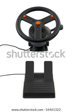 Computer steering wheel and pedals isolated on white background - stock photo