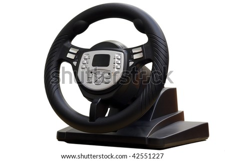 Computer steering wheel. Isolated on white. - stock photo