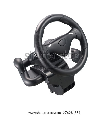 Computer steering wheel isolated on white background