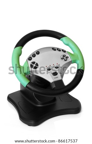 Computer steering wheel on a white background - stock photo