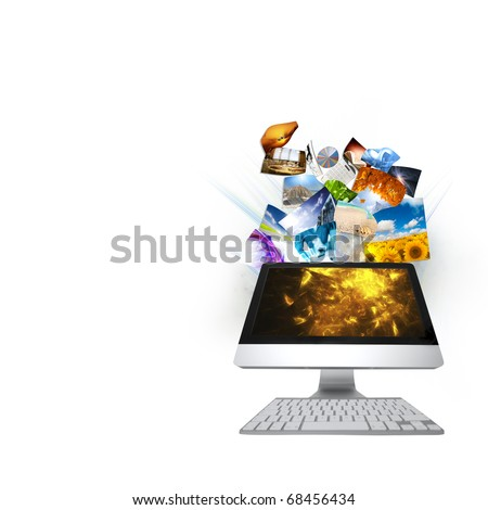 COmputer streaming - stock photo