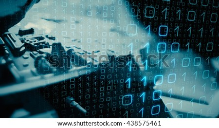 Computer system hacker attack - stock photo