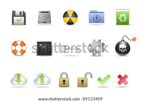 Computer System Icon Set - stock photo