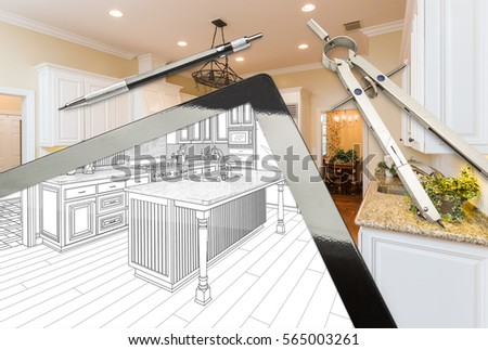 Computer Tablet And Drafting Tools With Kitchen Drawing Photograph Combination
