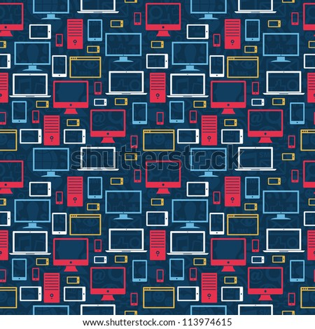 Computer, tablet and mobile icons seamless pattern over social media background. - stock photo