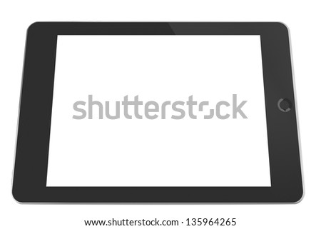Computer tablet (3D render with blank screen) - stock photo