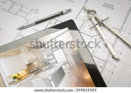 Computer Tablet Showing Kitchen Illustration Sitting On House Plans With Pencil and Compass.