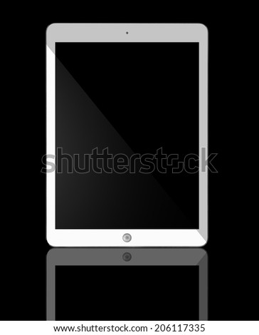 Computer tablet with blank white screen. Isolated on black background