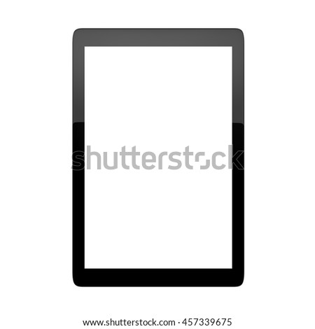 Computer tablet with blank white screen isolated on white background. 3D render. - stock photo