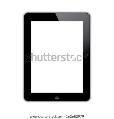 computer tablet with blank white screen.  realistic illustration.(rasterized version) - stock photo