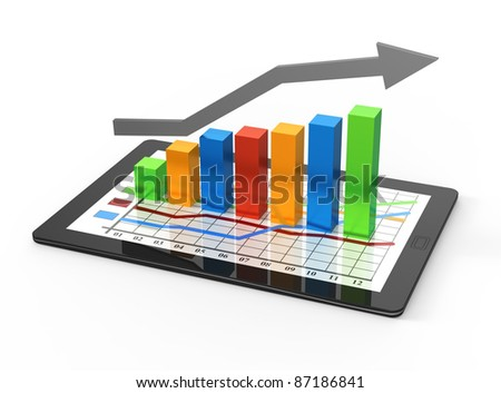 Computer tablet with business growth graph - stock photo