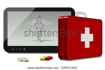 Computer tablet with medical symbol and first aid suitcase / Online health insurance - stock photo