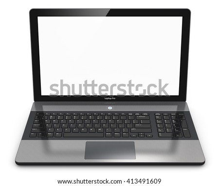 Computer technology and internet web communication concept: 3D render illustration of modern metal office laptop PC or silver business notebook with empty blank screen isolated on white background