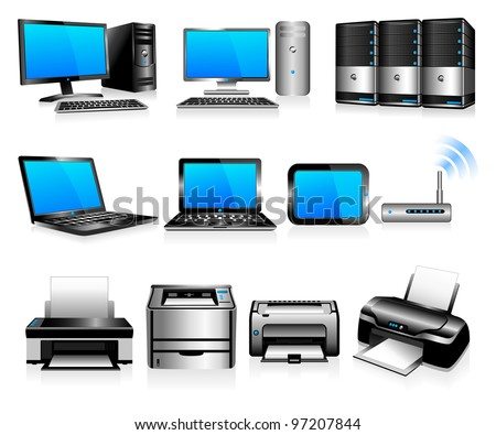 Computer Technology - Computers, Desktops, PC, laptops, Servers and Printers - Raster Version - stock photo