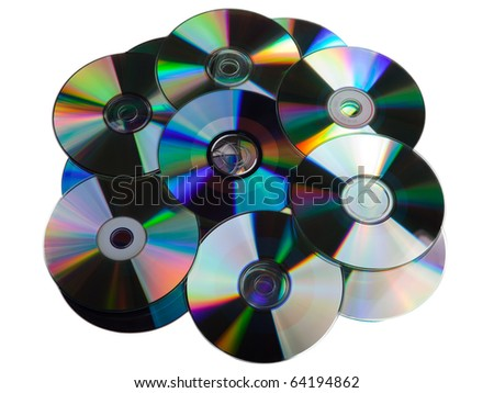 Computer technology data cd dvd disk heap isolated - stock photo