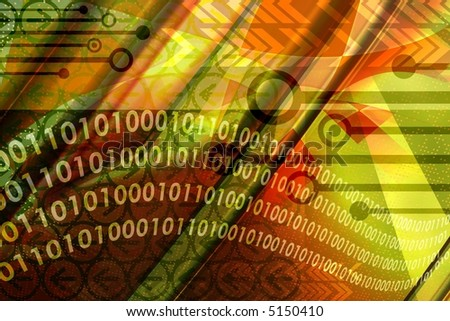 Computer technology elements with binary data leaks in abstract colorful background - stock photo